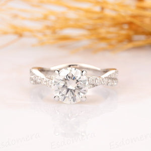 Round Cut 2ct Moissanite Twist Band Style Engagement Bridal Ring