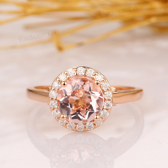 Round 1.25CT Morganite Engagement Ring, Solitaire Ring, 14k Rose Gold Wedding Ring