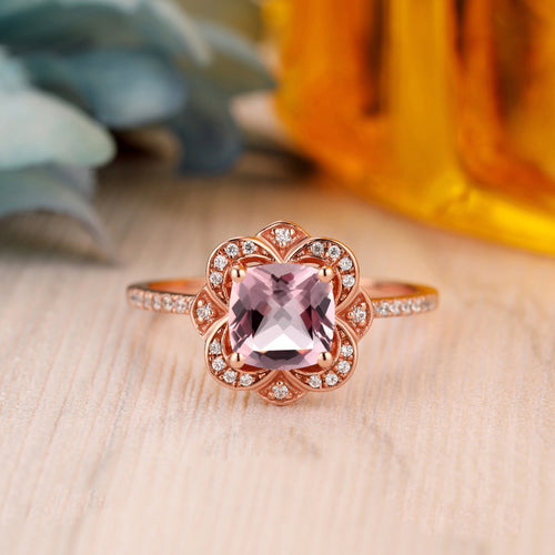 925 Sterling Silver - Handmade 6.5mm Cushion Cut Natural Morganite Wedding Ring