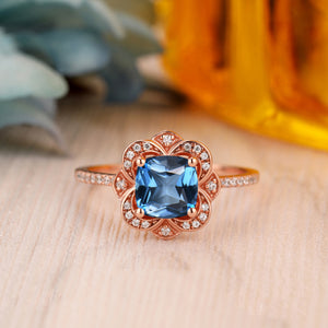 925 Sterling Silver - 6.5mm Cushion Cut Natural London Blue Topaz Wedding Ring