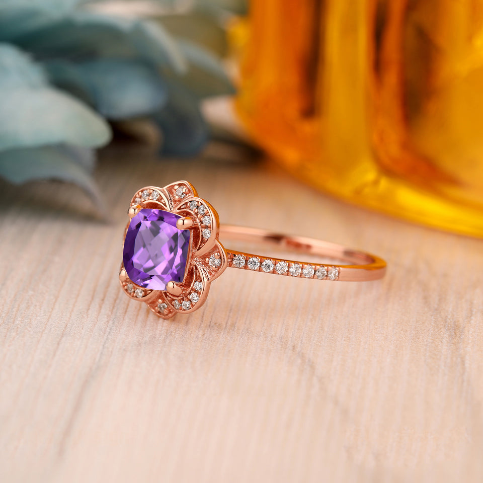 925 Sterling Silver - 1.3CT Cushion Cut Natural Amethyst Engagement Ring