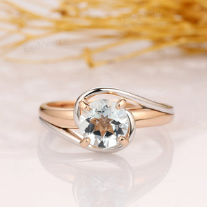 Two Tone Gold Aquamarine Ring, 1.5CT Round Aquamarine Solitaire Engagement Ring