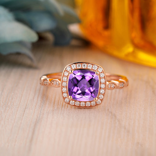 925 Sterling Silver - Halo 1.7CT Cushion Cut Natural Amethyst Ring