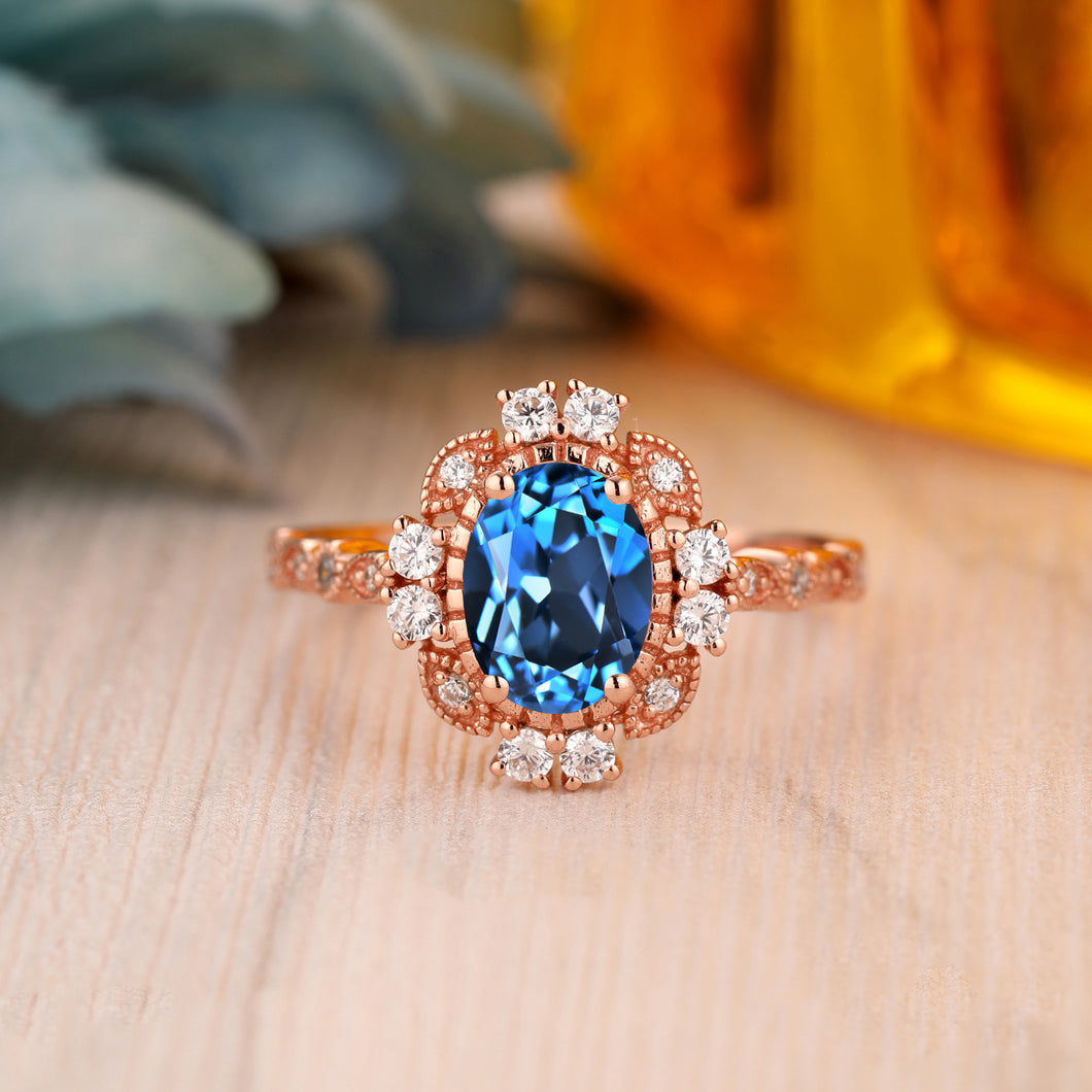925 Sterling Silver - Delicate 1.5CT Oval Cut Natural London Blue Topaz Gemstone Ring