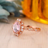 925 Sterling Silver - Unique 6x8mm Oval Cut Natural Morganite Anniversary Ring