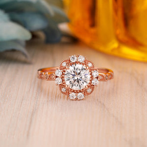 925 Sterling Silver - Floral Halo Round 1CT Moissanite Engagement Ring