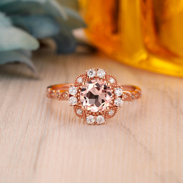 925 Sterling Silver - Classic 6.5mm Round Cut Morganite Ring