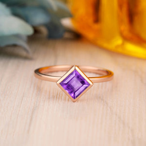 925 Sterling Silver - Solitaire 5.5mm Asscher Cut Natural Amethyst Birthstone Ring