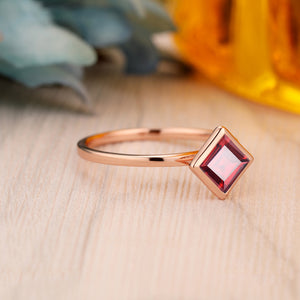 925 Sterling Silver - 5.5mm Princess Cut Natural Red Garnet Wedding Ring, Art Deco Ring