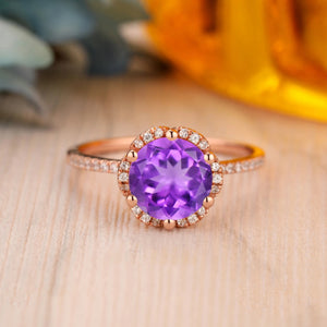 925 Sterling Silver - 2.0CT Round Cut Natural Amethyst Half Eternity Ring