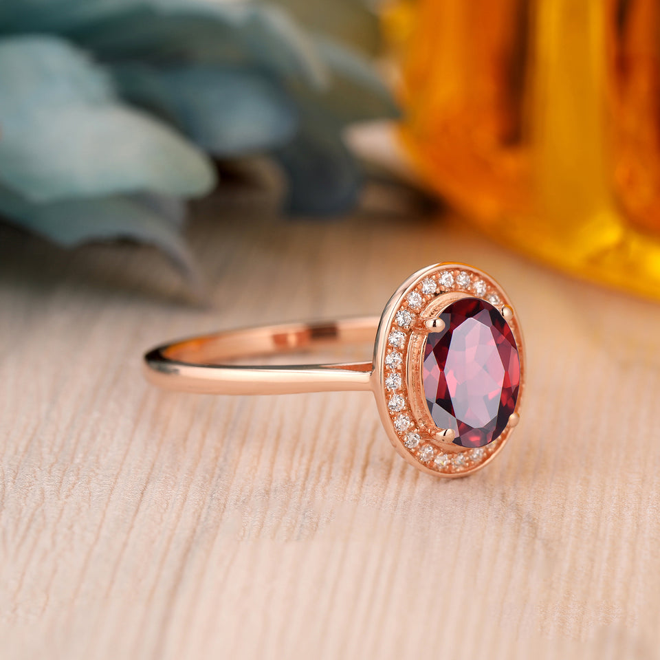 925 Sterling Silver - 6x8mm Oval Cut Natural Red Garnet Ring, Rose Gold Promise Ring