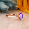 925 Sterling Silver - Vintage 6x8mm Oval Cut Natural Amethyst Promise Ring