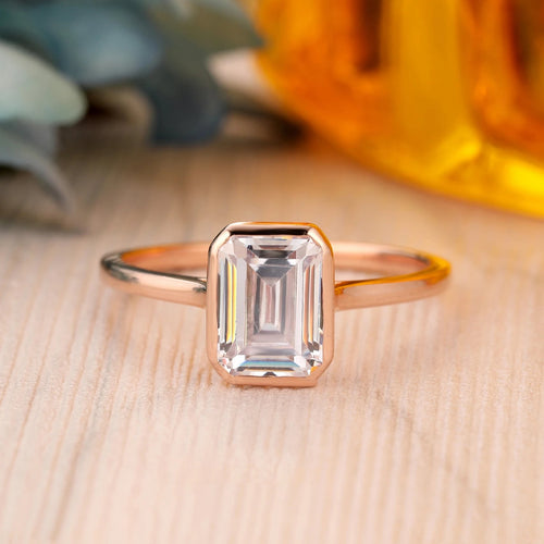 925 Sterling Silver - Emerald Cut 6x8mm Moissanite Solitaire Engagement Ring
