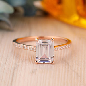 925 Sterling Silver - Emerald Cut 6x8mm Moissanite Accents Engagement Ring