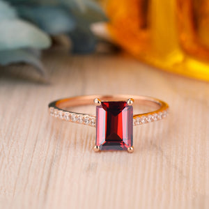925 Sterling Silver - 6x8mm Emerald Cut Natural Red Garnet Ring, Antique Anniversary Gift For Her