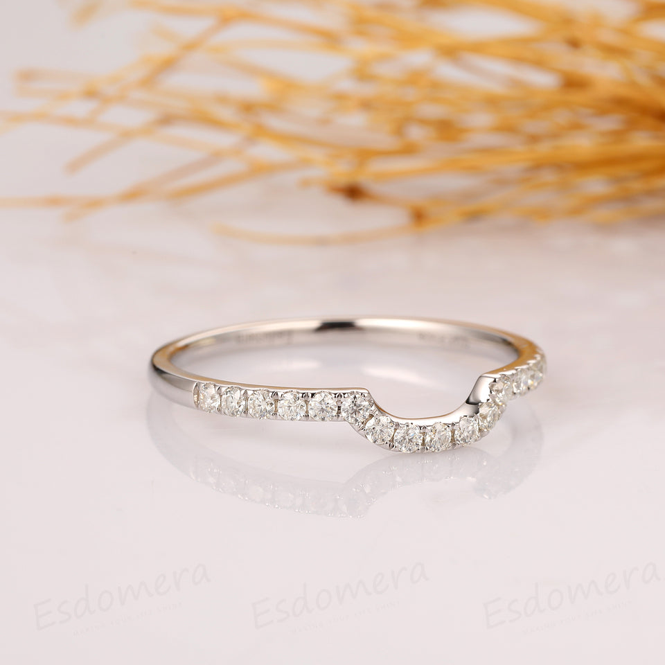 Curved Moissanite Matching Band, Pave Set Accent Moissanite Ring, 14k White Gold Ring