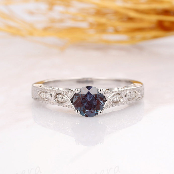 1CT Round Cut Alexandrite Engagement Ring, 14k Solid White Gold Wedding Ring