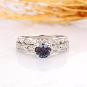 Alexandrite Wedding Set, Art Deco Round Cut 1CT Alexandrite Engagement Ring