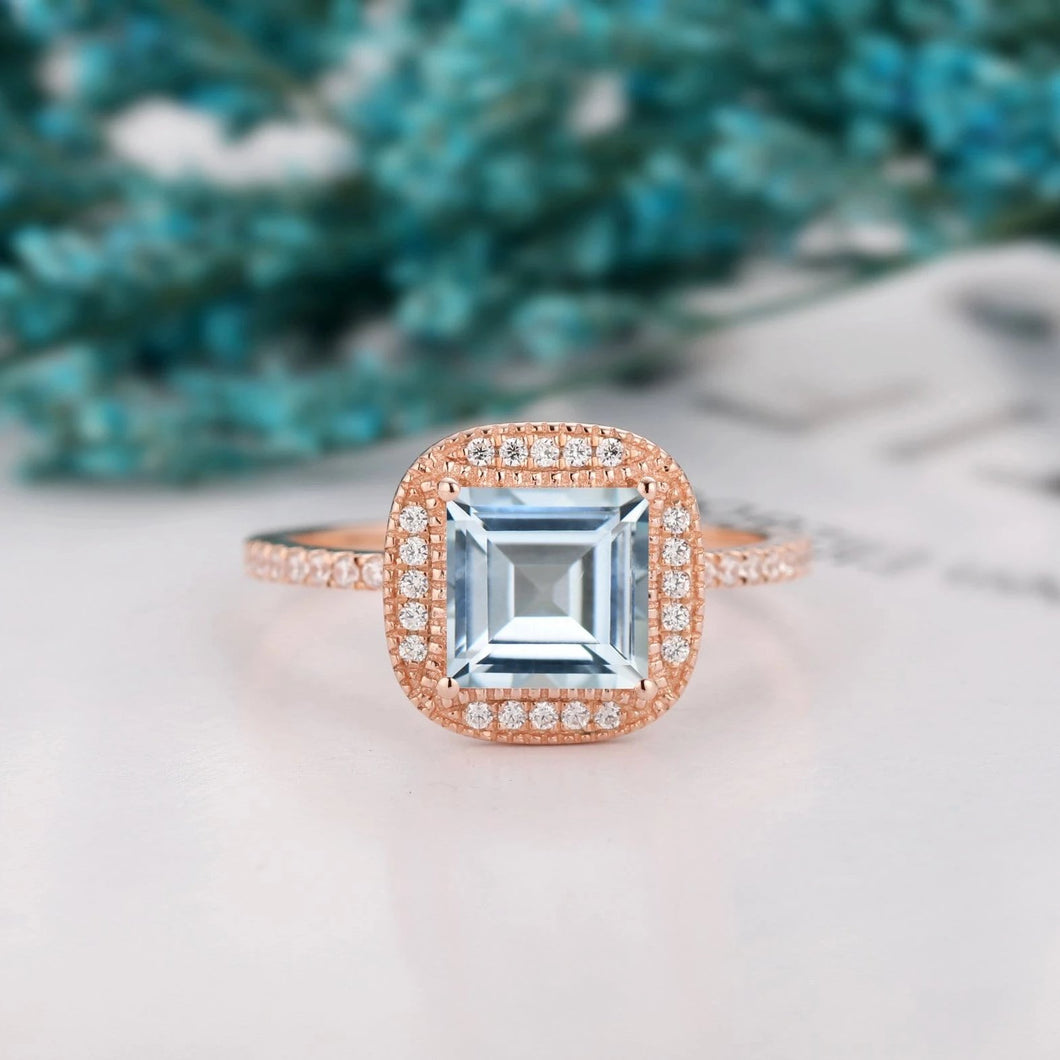 Unique Moissanite Accents Wedding Ring, 2.0CT Asscher Cut Natural Aquamarine Ring