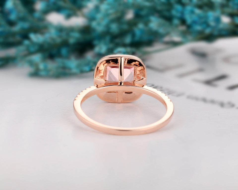 Solid 14K Gold Pristine Custom Wedding Ring, 2.0CT Princess Cut Natural Morganite Ring