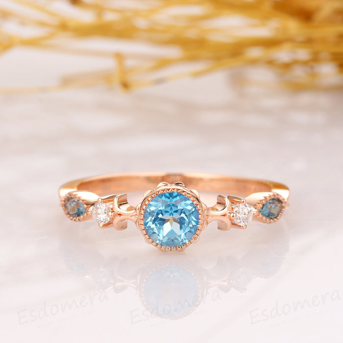 0.5CT Blue Topaz Engagement Ring, Promise Anniversary Ring