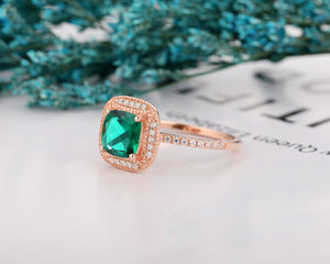 Art Deco Engagement Ring, 7x7mm Cushion Cut Lab Created Emerald Ring