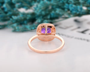 Solid Gold Halo Ring, 7x7mm Cushion Cut Natural Amethyst Engagement Ring