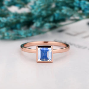 Valentines Ring, 1.0CT Asscher Cut Natural Rainbow Moonstone Wedding Ring
