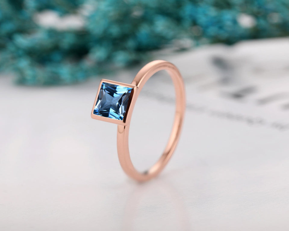 Art Deco Solitaire Ring, Princess Cut Natural London Blue Topaz Engagement Ring