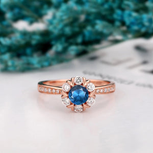 Round Cut 5mm Natural London Blue Topaz Ring, 14k Gold Half Eternity Wedding Ring