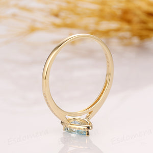 Pear Cut Aquamarine Ring, Drop Shape 5x8mm Aquamarine Wedding Ring, 14k Yellow Gold Ring