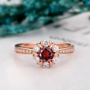 Moissanite Accents Ring, 5mm Round Cut Natural Red Garnet Women's Ring
