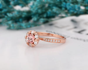 Personalized Halo Ring, 0.5CT Round Cut Natural Morganite Anniversary Ring