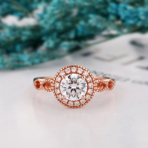 Art Deco 1.0CT Round Cut Colorless Moissanite Ring, 14k Gold Wedding Ring