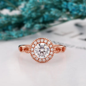 925 Sterling Silver - Vintage Halo 1CT Moissanite Engagement Ring