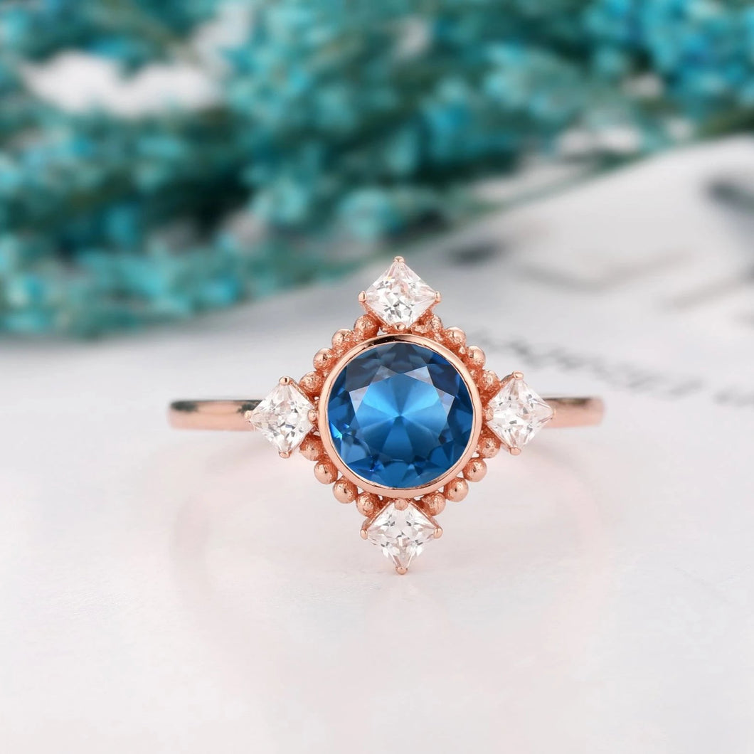 Birthstone Ring, 1.0CT Round Cut Natural London Blue Topaz Ring, Anniversary Gift