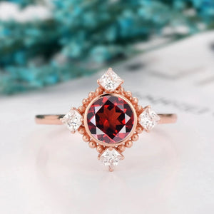 Milgrain Moissanite Anniversary Ring, 1.0CT Round Cut Natural Red Garnet Ring