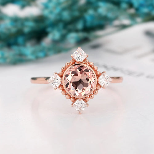 Milgrain Gemstone Ring, Unique 1.0CT Round Cut Natural Morganite Ring