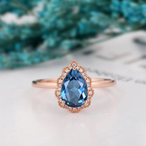 Solid Gold Water Drop Shape Ring, 1.5CT Pear Cut Natural London Blue Topaz Ring