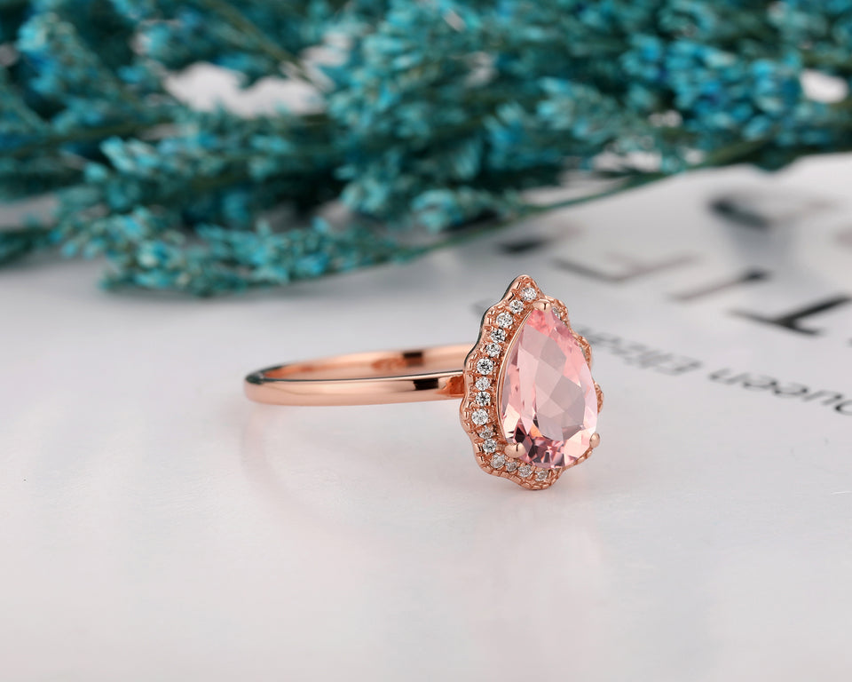 Special Design Engagement Ring,  1.5CT Pear Cut 6x9mm Morganite Ring