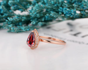 Unique Water Drop Shape Ring, 1.5CT Pear Cut Natural Red Garnet Ring