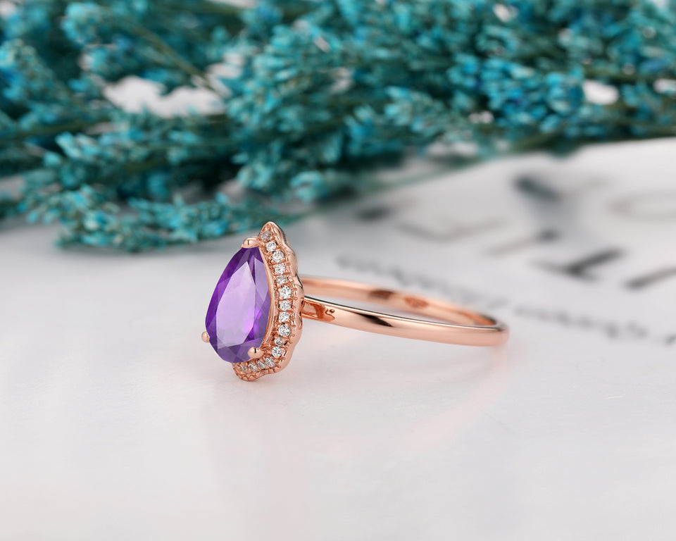 Delicate Water Drop Ring, 1.5CT Pear Cut Natural Amethyst Promise Ring