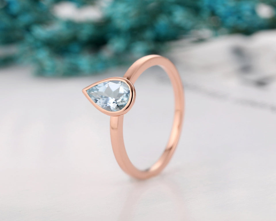 Solitaire 14k Rose Gold Bezel Set Ring, 1.0CT Pear Cut Natural Aquamarine Wedding Ring