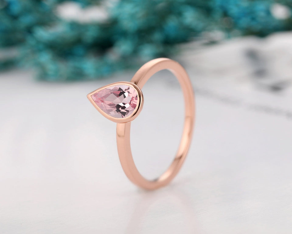 Vintage Style Solitaire Ring, 1.0CT Pear Cut Morganite Wedding Ring