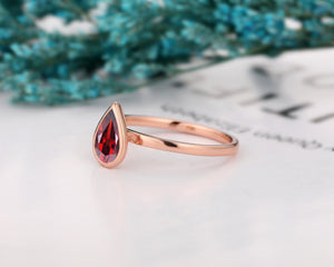 Minimalist Ring, 5x8mm Pear Cut Natural Red Garnet Wedding Ring, Birthday Gift