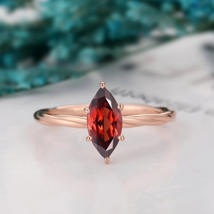 Classic Style Wedding Ring, 5x10mm Marquise Cut Natural Red Garnet Bridal Ring