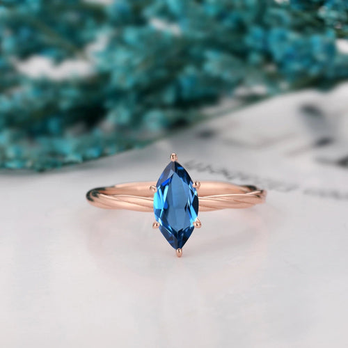 Prongs Setting Ring, 1.0CT Marquise Cut Natural London Blue Topaz Ring