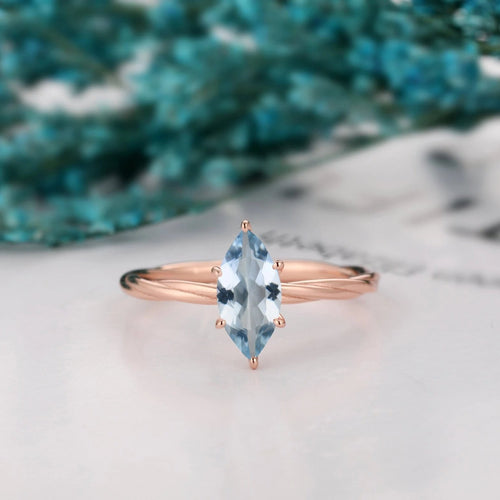 Rope Twist Design Solitaire Ring, 1.0CT Marquise Cut Natural Aquamarine Wedding Ring