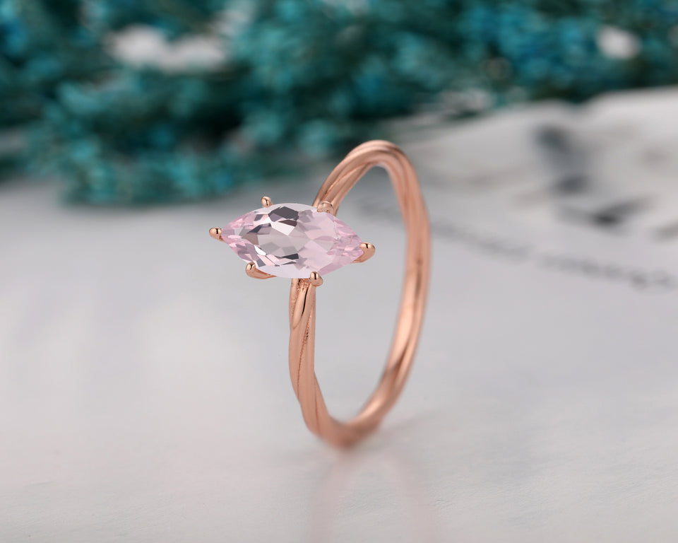 Twist Design Ring, 1.0CT Marquise Cut Natural Morganite Wedding Ring