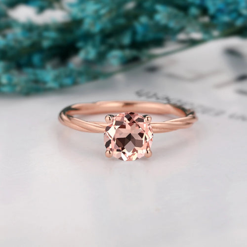 Simple Solitaire Ring, 1.25CT Round Cut Natural Morganite Birthstone Ring
